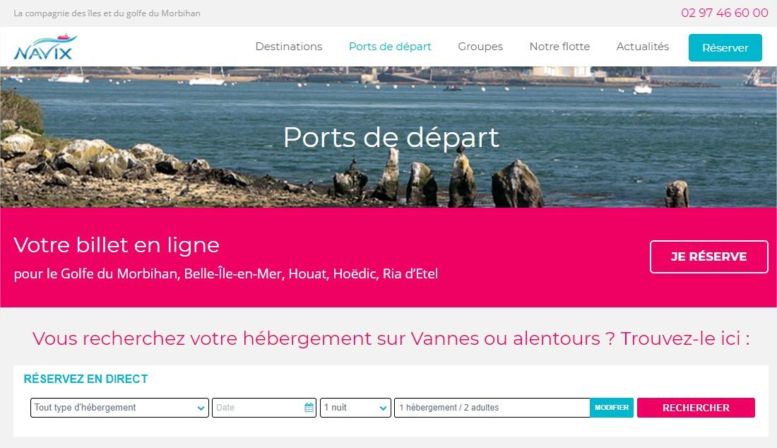Image moteur de réservation, site de la navix